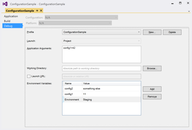 Visual Studio Debug Settings