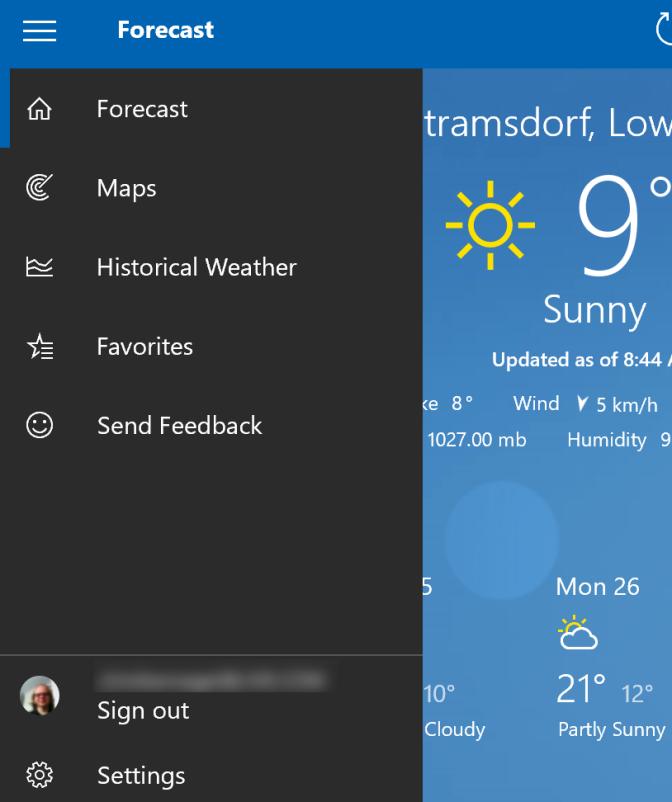 Weather App Pane Opened