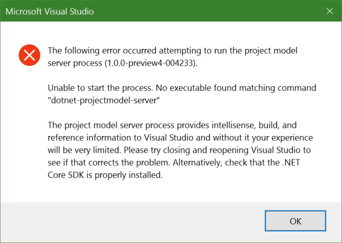 Visual Studio 2015 Error