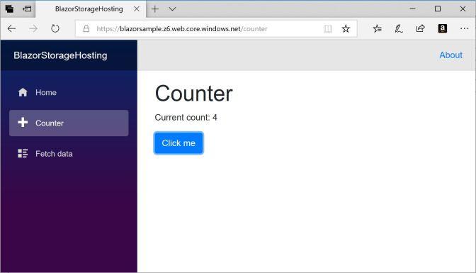 Blazor App running in Azure Storage