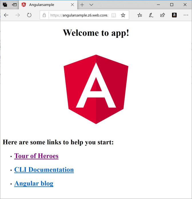 Angular App running in Azure Storage