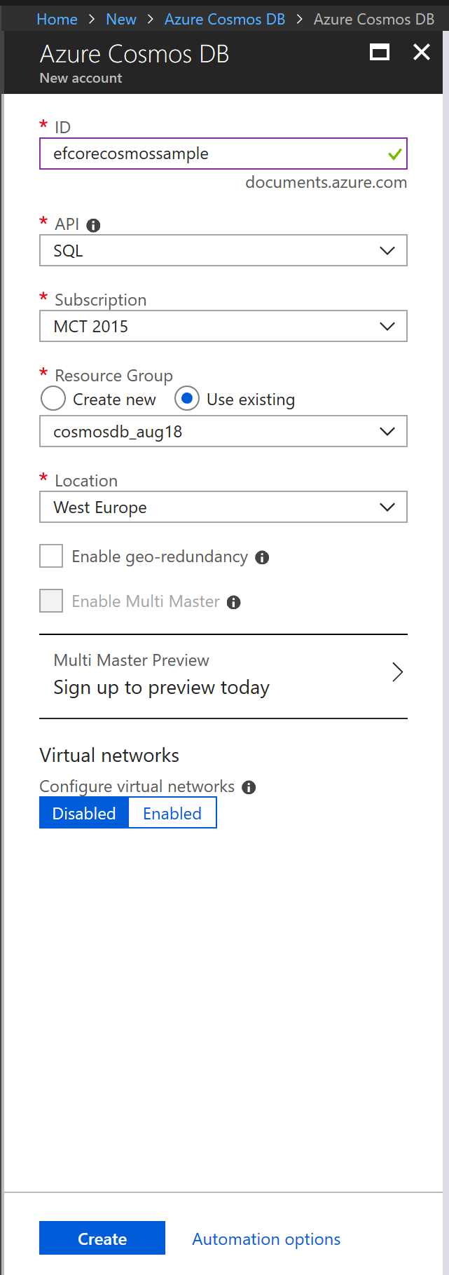 First experiments using EF Core with Azure Cosmos DB
