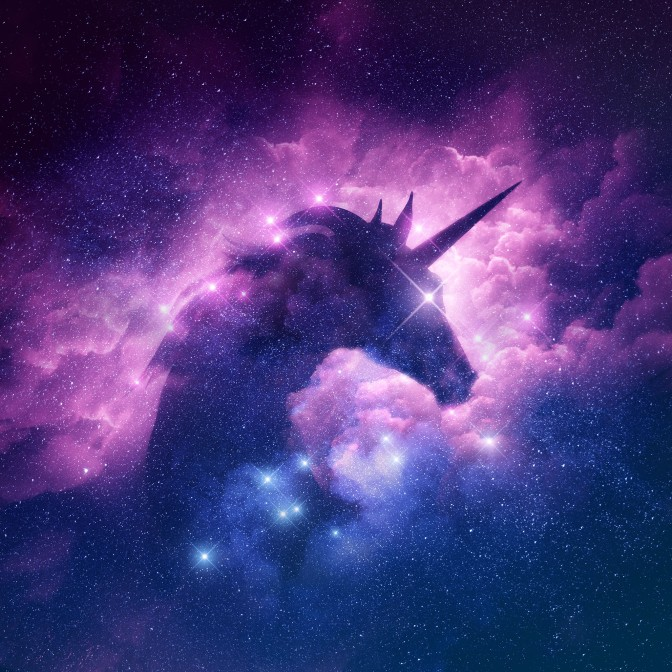 Unicorn in galaxy nebula cloud