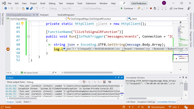 Debugging the Azure Function