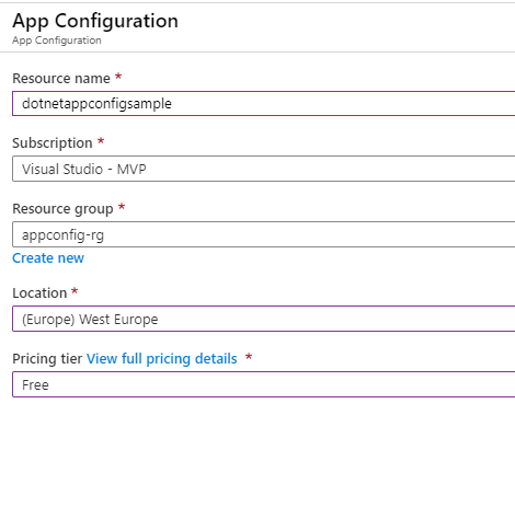 Create Azure App Configuration