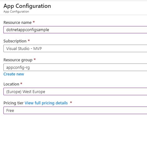 Create Azure App Configuration