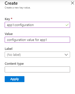 Create app configuration values
