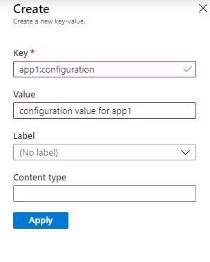 Create app configuration values