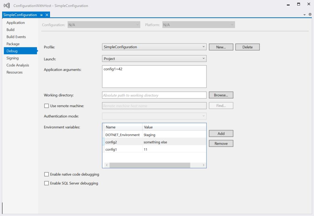 Visual Studio Debug Settings